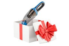 Gift concept, portable vacuum cleaner inside gift box. 3D render Royalty Free Stock Photography