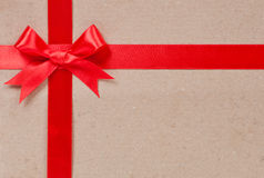Gift concept - Red bow and ribbon stock photo
