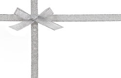 Gift Concept - Silver Bow And Ribbon Isolated Stock Photos