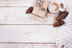 Gift, cones, gifts, coffee, cocoa. Christmas, New Year background royalty free stock photo