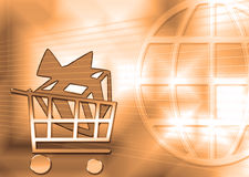 Gift in a consumer basket. Royalty Free Stock Image