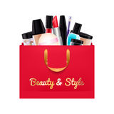 Gift cosmetics set in red paper bag. Stock Photos