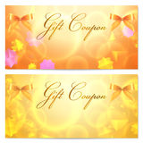 Gift coupon / card template (stars, bow, ribbons) royalty free stock images