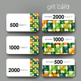 Gift coupon, discount card template with  abstract background Stock Photos
