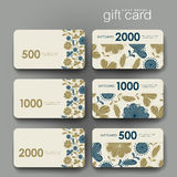 Gift coupon, discount card template with  floral background Stock Images