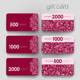Gift coupon, discount card template with  floral Stock Photography