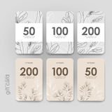 Gift coupon, discount card template with  floral Stock Image