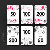 Gift coupon, discount card template with  floral ornament background Stock Images