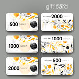 Gift coupon, discount card template with  floral ornament background Royalty Free Stock Images