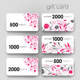 Gift coupon, discount card template with  floral ornament background Stock Image