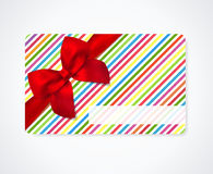 Gift coupon, gift card discount card, business card with stripy pattern lines, red bow ribbon. Holiday background design for invitation, ticket. Vector Royalty Free Stock Photography
