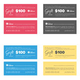 Gift coupon set. Multi color gift coupon set with text templates Stock Images
