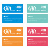 Gift coupon set. Multi color gift coupon set with text templates Royalty Free Stock Photos