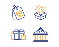Gift, Coupons and Holiday presents icons set. Carousels sign. New year, Shopping tags, Gift boxes. Vector. Gift, Coupons and Holiday presents icons simple set stock illustration