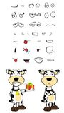 Gift Cow cartoon expressions set Royalty Free Stock Images