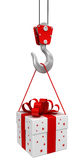 Gift on crane hook Stock Photography
