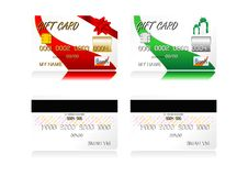 Gift credit cards. Different gift credit cards isolated over white background