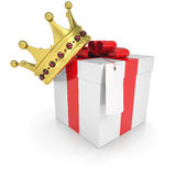 A gift with a crown. Isolated render on a white background Stock Images