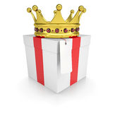 A gift with a crown Stock Images