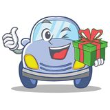 With gift cute car character cartoon Royalty Free Stock Photography