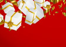Gift 3D background. Festive box and bow. Gift 3D background. Festive box and bow vector illustration Stock Photo