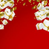 Gift 3D background. Festive box and bow. Gift 3D background. Festive box and bow vector illustration Royalty Free Stock Photo