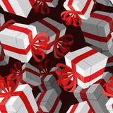 Gift 3D background. Festive white box and red bow.  Royalty Free Stock Photography