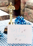 Gift for Daddy. Father's Day made card with bows and award for fathers day holiday presentations Stock Image