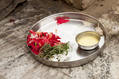 Gift for the dead people in Ganga River. Varanasi. India. Royalty Free Stock Photo