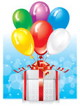 Gift, decorated with balloons Stock Images