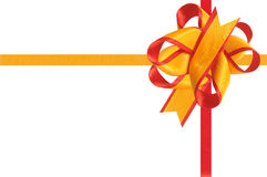 The gift is decorated by a bow. The gift is tied up by a band and decorated by a bow Royalty Free Stock Photo
