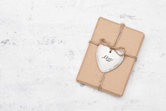 Gift. Decorated with ceramic heart Stock Image