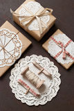 Gift. Decoration with doilies and twine Royalty Free Stock Photos