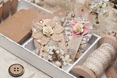 Gift decoration. Paper tag, ribbon  and bottons Royalty Free Stock Photo