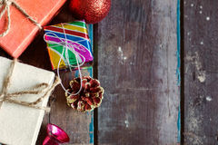 Gift and decoration on wooden. Stock Photography