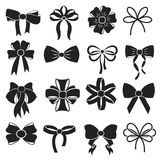Gift decorative ribbon bow vector icons set Stock Image