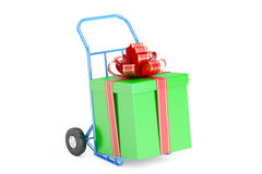 Gift Delivery Concept. Gift Box on Hand Truck, 3D rendering Stock Image