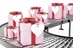 Gift Delivery Concept. Ornate with Hearts Paper Gift Box and Hea Stock Photography
