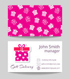 Gift delivery service business card template vector illustration