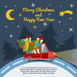 Gift delivery van in Christmas eve. Royalty Free Stock Photos