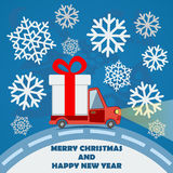 Gift delivery van in Christmas eve. Royalty Free Stock Images