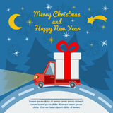 Gift delivery van in Christmas eve. Royalty Free Stock Photography