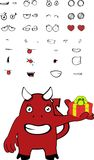 Gift demon cartoon expressions set Royalty Free Stock Photography