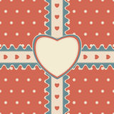 Gift design with ribbon and heart-shaped greeting card Royalty Free Stock Image