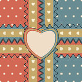 Gift design with two ribbons and heart-shaped greeting card. Romantic gift design with two stitched ribbons and heart-shaped greeting card on cute polka dot Stock Images