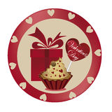Gift with dessert for valentines day Royalty Free Stock Photo