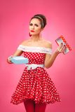 Gift disappointement. Pin-Up Retro Style Woman Stock Photos
