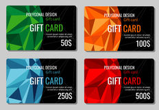 Gift discount cards vector set with multicolor polygonal backgrounds Royalty Free Stock Image