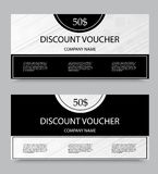Gift discount voucher template. On fifty dollars with diagonal stripes pattern in black and gray colors. Vector illustration royalty free illustration