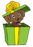 Gift dog cartoon vector illustration